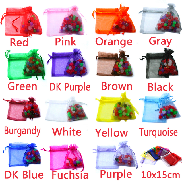 100pcs /bag , Selection 15 Colors Jewelry bag 10x15cm organza jewelry packaging display & Jewelry Pouches, free shipping