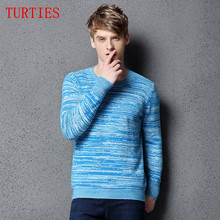 Limited NEW winter men's O-neck Cashmere Sweater Hit the color Sweater Slim bottoming knit pullover Fashion Wool Sweater male