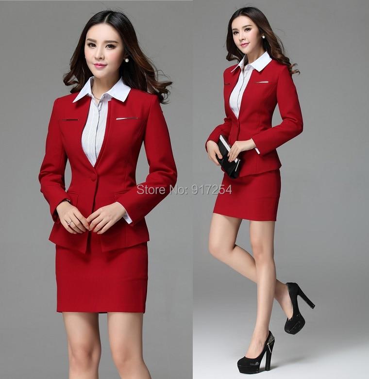 Feminino Abbigliamento Estetista Lavoro Formato Rosso 2015 Uniforme Ufficio Più Per Del Blazer Set Signore Abiti Le Gonna E Elegante Stile red Black Il Usura Hqx8RwU
