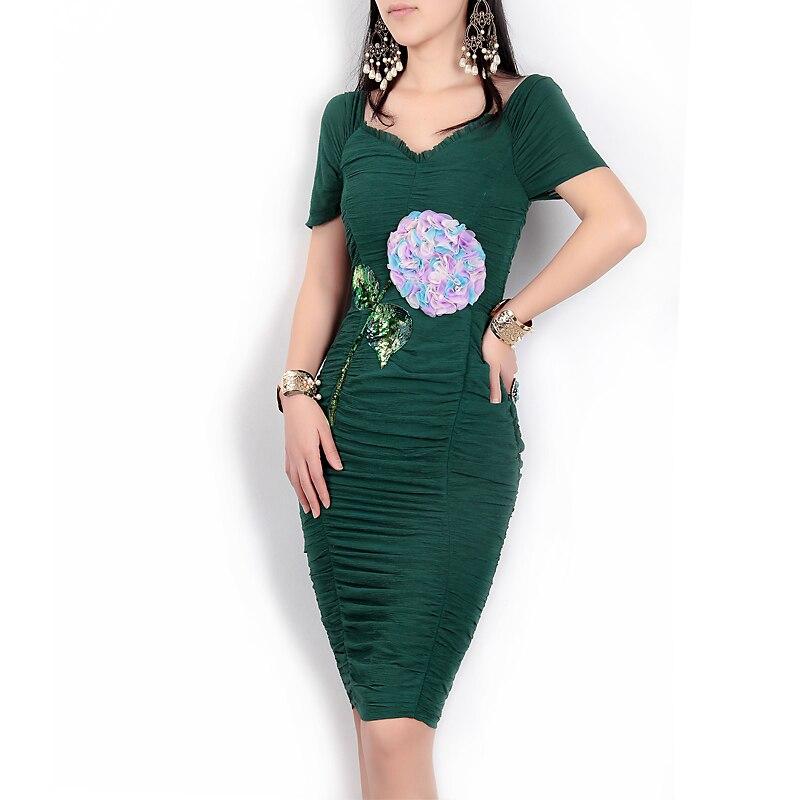цены High quality new designer spring/summer 2017 women's fashion runway v-neck dress Appliques Sequined Sheath Knee - Length dress