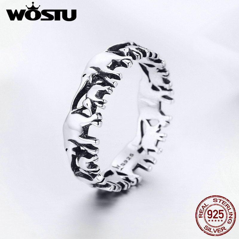 WOSTU 100% Real 925 Sterling Silver Animal Elephant Family Finger Rings For Women Silver Fashion 925 Jewelry Gift FIR344