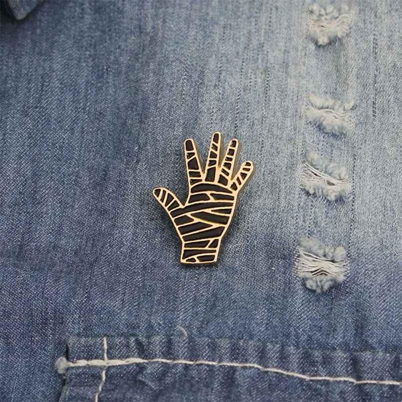Эмаль Панк ручной Броши шпильки черный дьявол жеста Мумия Пальма призрак нагрудные значки аксессуары в готическом стиле винтажная мода ювелирные изделия подарок