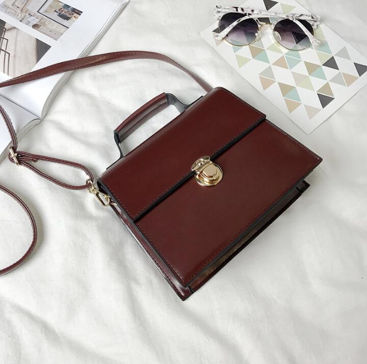 Женская сумка из ПУ кожи, Повседневная простая сумка в стиле ретро с цепочкой и плечевым замком, 2019