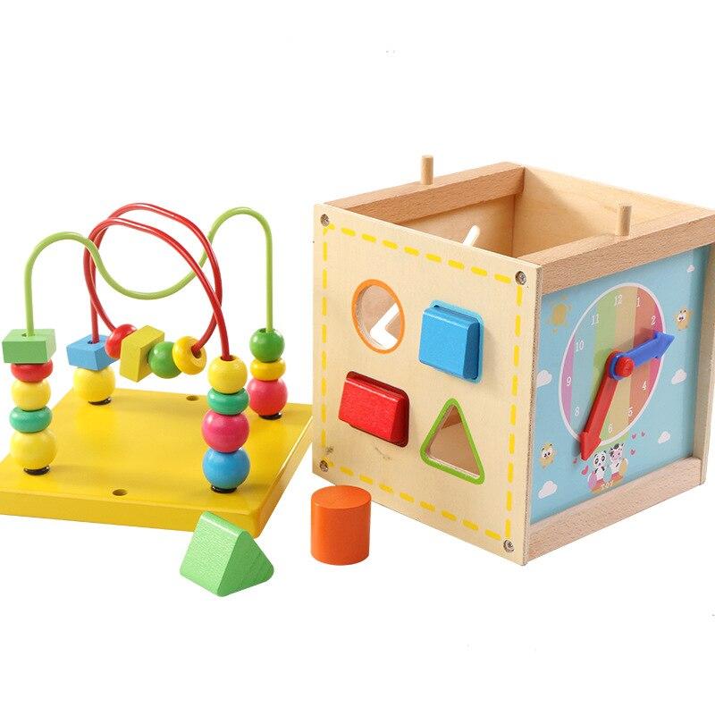 Beducht Kleurrijke Houten Kinderen Baby Educatief Speelgoed Multifunctionele Ronde Kralen Baby Klok Houten Blok Rijgen Kralen Speelgoed Onderscheidend Vanwege Zijn Traditionele Eigenschappen