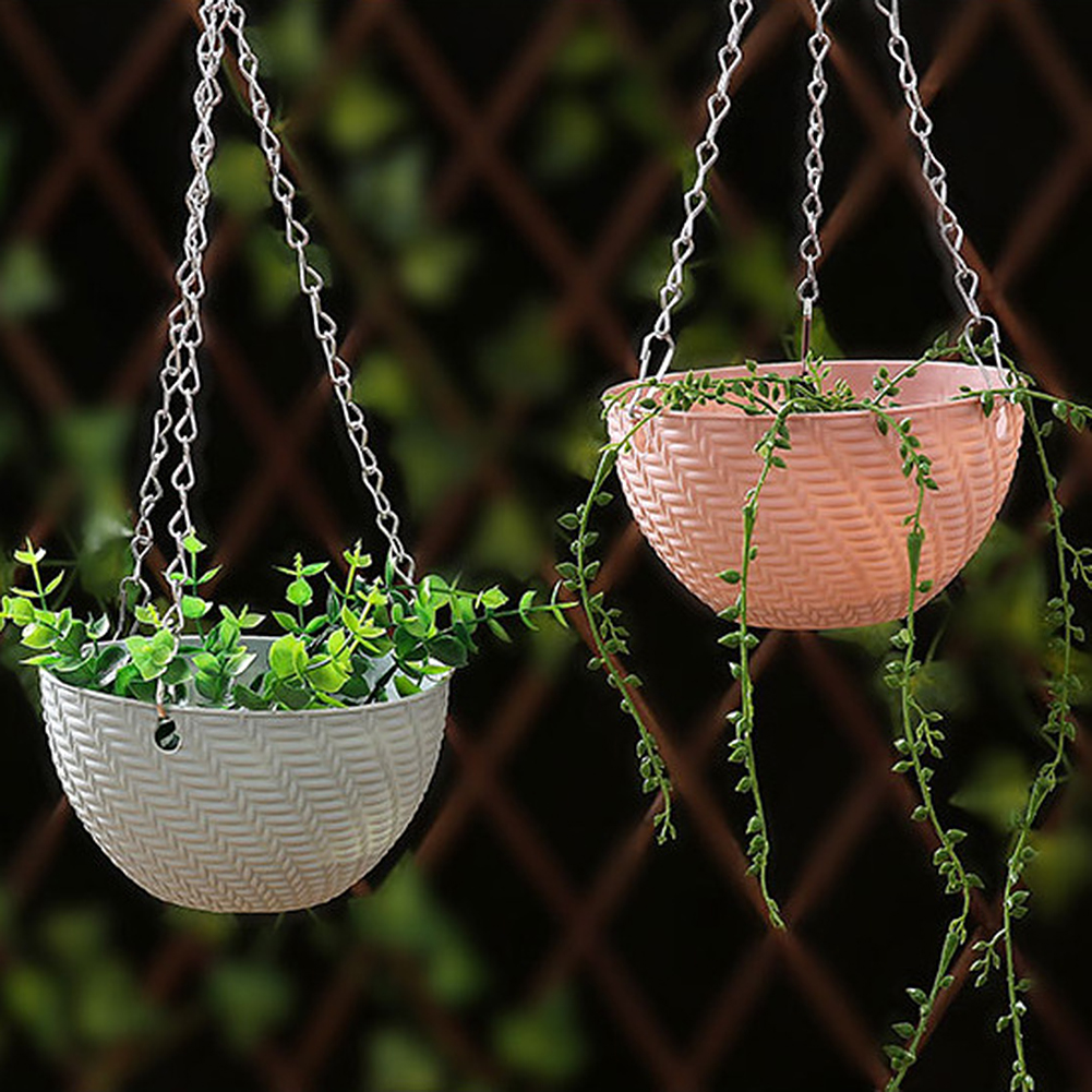 Hanging Basket Rattan Woven Plastic Flowerpot With Chain Houseplant Planter