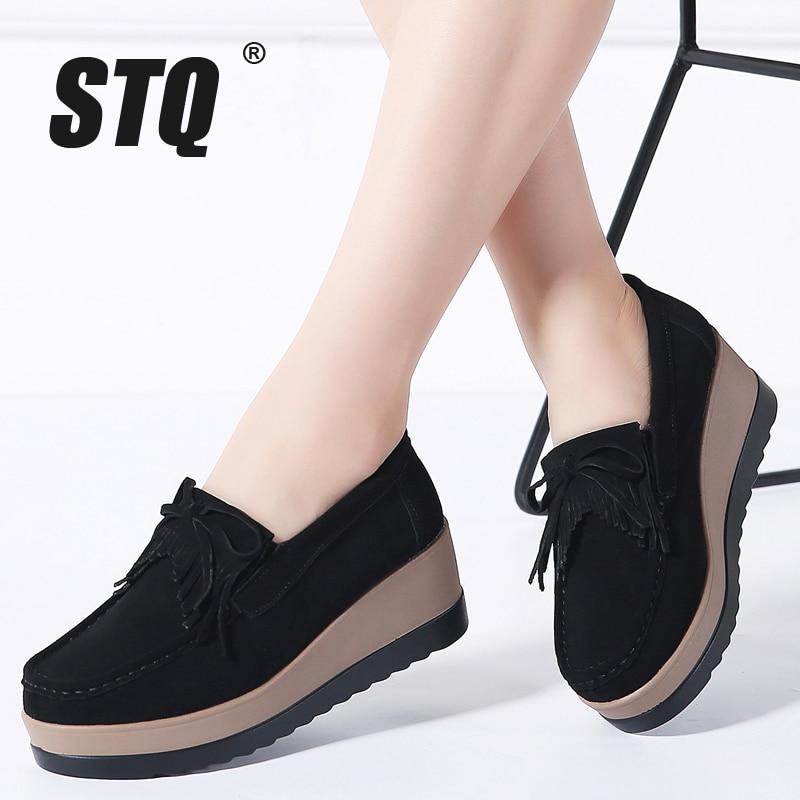 STQ 2020 Autumn Women Flats Women Leather Suede Fringe Platform Sneakers Thick Heel Casual Boat Shoes Ladies Loafers Shoes 912ladies loafers shoesboat shoesboat shoes ladies -