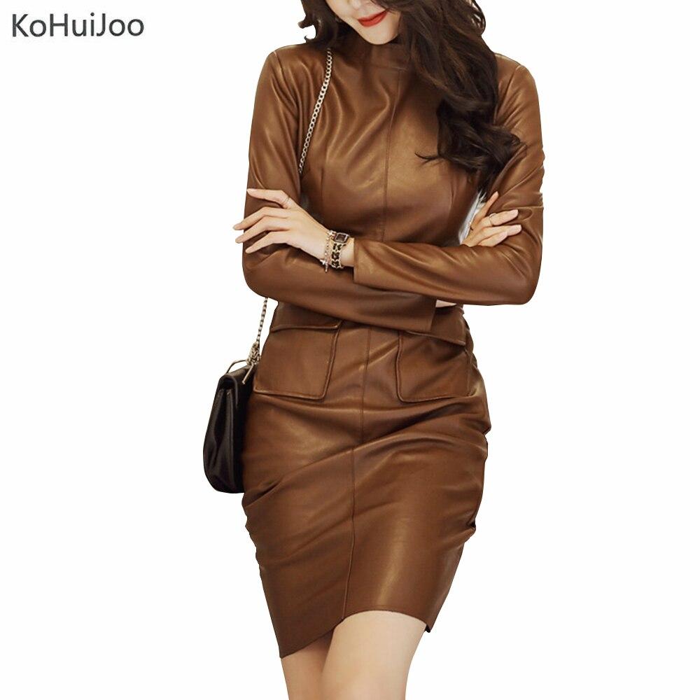 KoHuiJoo 2019 Mode Coréenne À Manches Longues Faux Robe En Cuir Sexy Mini Femmes En Cuir Pu Robes Automne Solide Gaine Robe Rétro