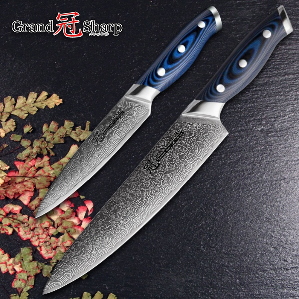 Damascus Knife Set 2 pcs Damascus Japanese Stainless Steel VG10 Chef Utility Knives Cooking Kitchen Chef