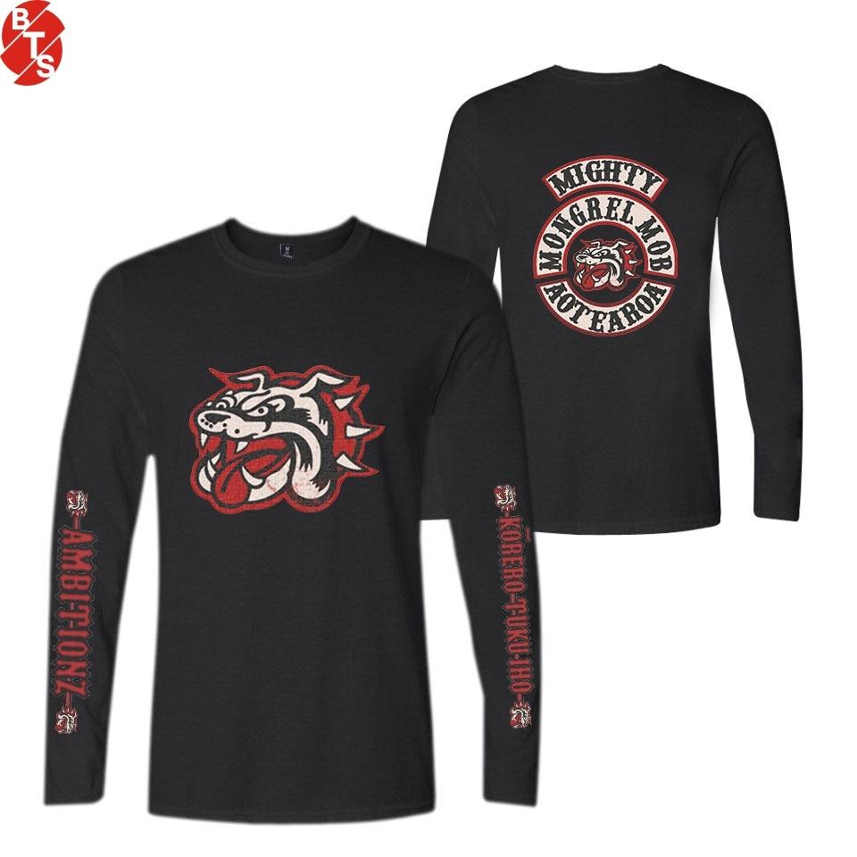 Mongrel Mob Fashion Printed Long Sleeve T-shirts Women/Men Casual Trendy Style Tshirts 2018 Hot Sale Streetwear Tee Shirts