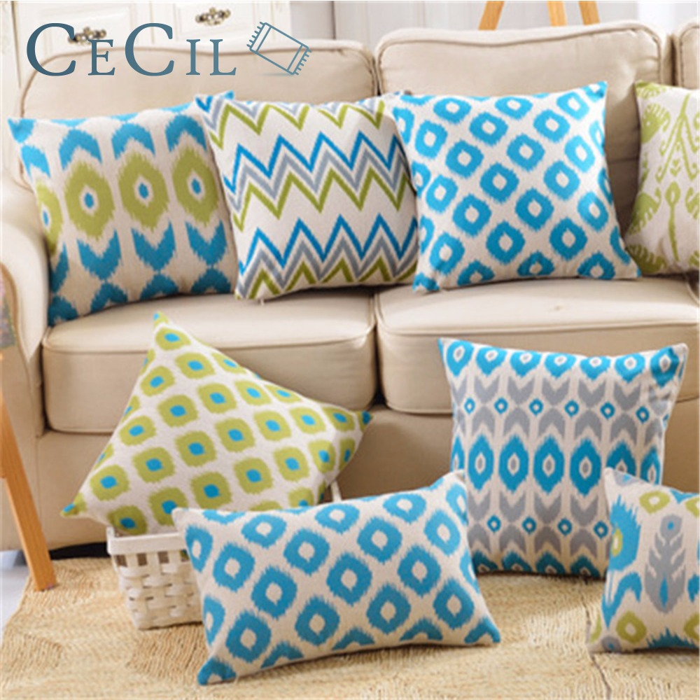 Cushion Cover Linen Pillow Cover Blue Geometric Nordic Throw Pillow Cover Cojines Home Decorative Sofa Bed Heart Pillowcase