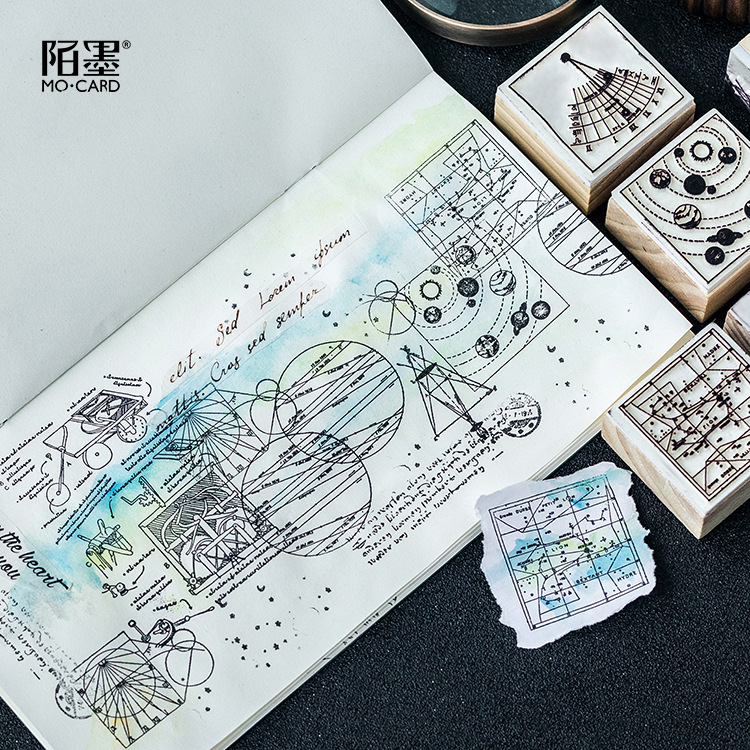 Geometry World Celestial Body Wooden Rubber DIY Stamp Set Student Prize Promotional Gift Stationery