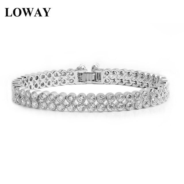 LOWAY Platinum Plated Bracelet Women Special Design Double Round Colorful Cubic Zirconia Bracelet SZ3831