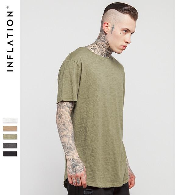 INFLATION Men's Solid Extended Elongated Plain T Shirt Bamboo Cotton Top Tee Hight Street Dress T-shirt 0118S17