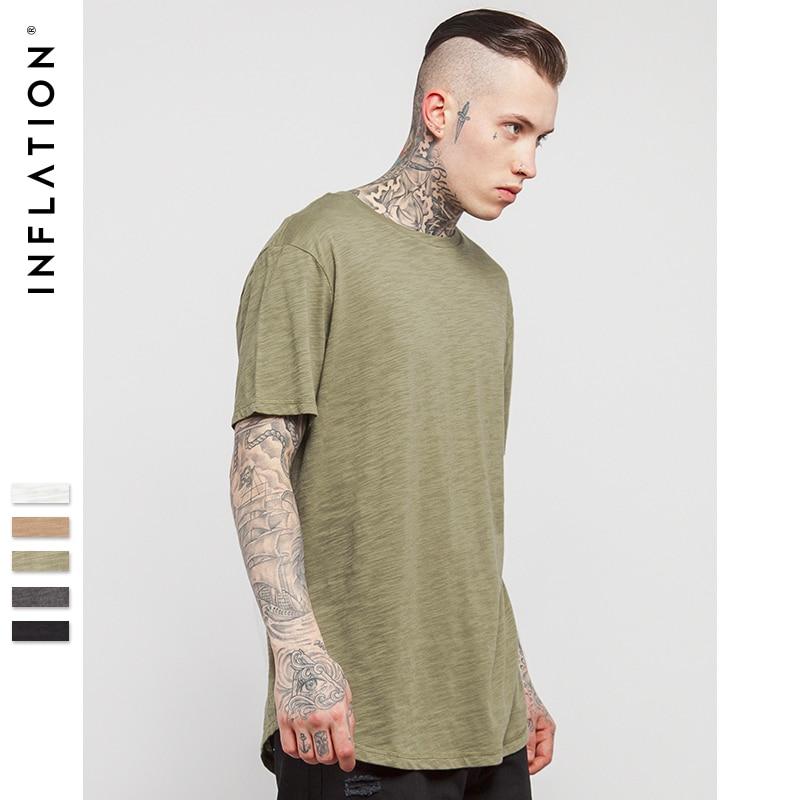 INFLATION Men's Solid Extended Elongated Plain   T     Shirt   Bamboo Cotton Top Tee Hight Street Dress   T  -  shirt   0118S17