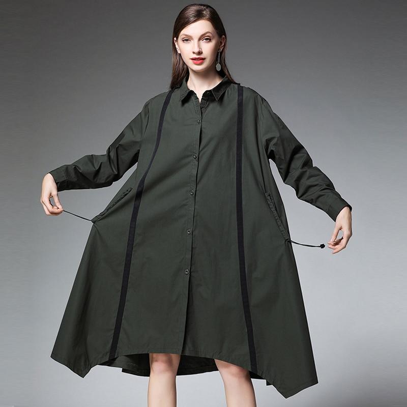 Size Plus Long Patchwork Female Casual American Blouse 2019 Cotton as Picture European Black Asymmetrical Design Shirt Oversized Women Loose nwBnqz8g