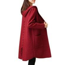 秋のカーディガンポケット女性の服ソフトで快適なコートニット付きロングカーディガン女性のセーターのジャケット 2018
