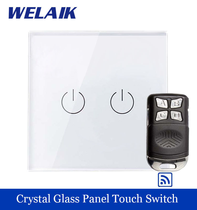 WELAIK Glass Panel Switch White Wall Switch EU remote control Touch Switch Screen Light Switch 2gang1way AC110~250V A1923W/BR01 white 1 gang 1 way led crystal glass panel light touch screen remote switch for light with wireless remote control 110v 220v