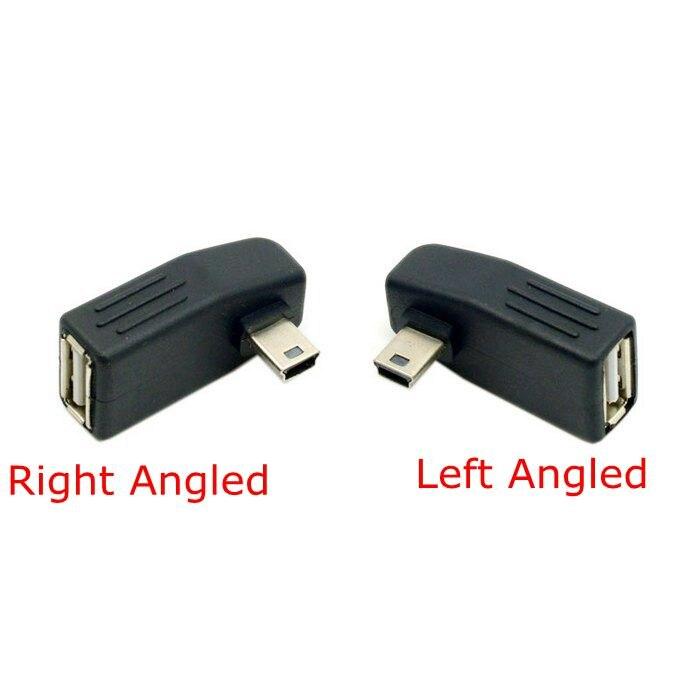 90 Degree Mini USB 2.0 Type B Left & Right Angled to USB 2.0 Female OTG Adapter for Mini USB OGT usb host Connector