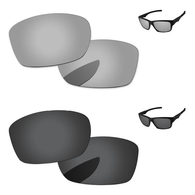 fbc1cdbf62dc6 Black   Chrome Silver 2 Pairs Polarized Replacement Lenses For Jupiter  Squared Sunglasses Frame 100%
