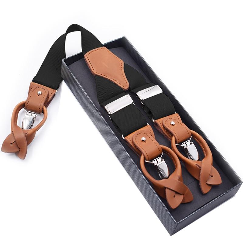 Man's Suspenders Fashion Braces Genuine Leather Suspenders Suspensorio Trousers Strap Father/Husband's Gift 3.5*120cm