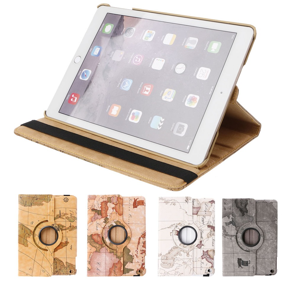 360 Degree Rotation Stand Faux Leather Case Cover For iPad Air/Air 2/New iPad 9.7 With Auto Wake Up/Sleep Smart Function