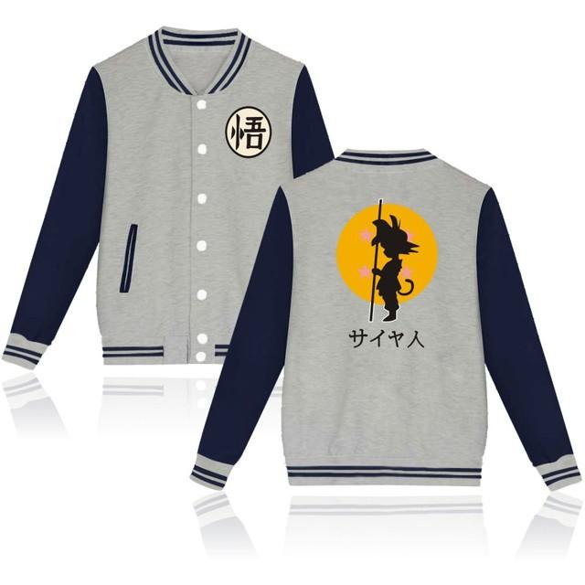 2017 New Arrivals Anime Design Dragon Ball Baseball Jacket For Men Harajuku Goku Capless Sweatshirt High Quality Hoodies