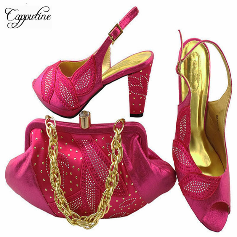 Capputine Nigerian Style Rhinestone Ladies Shoe And Bag Set African Ladies Shoes And Bag Set for Party Dress Gold Color MM1043 ghanaian and nigerian english some comparative phonological features