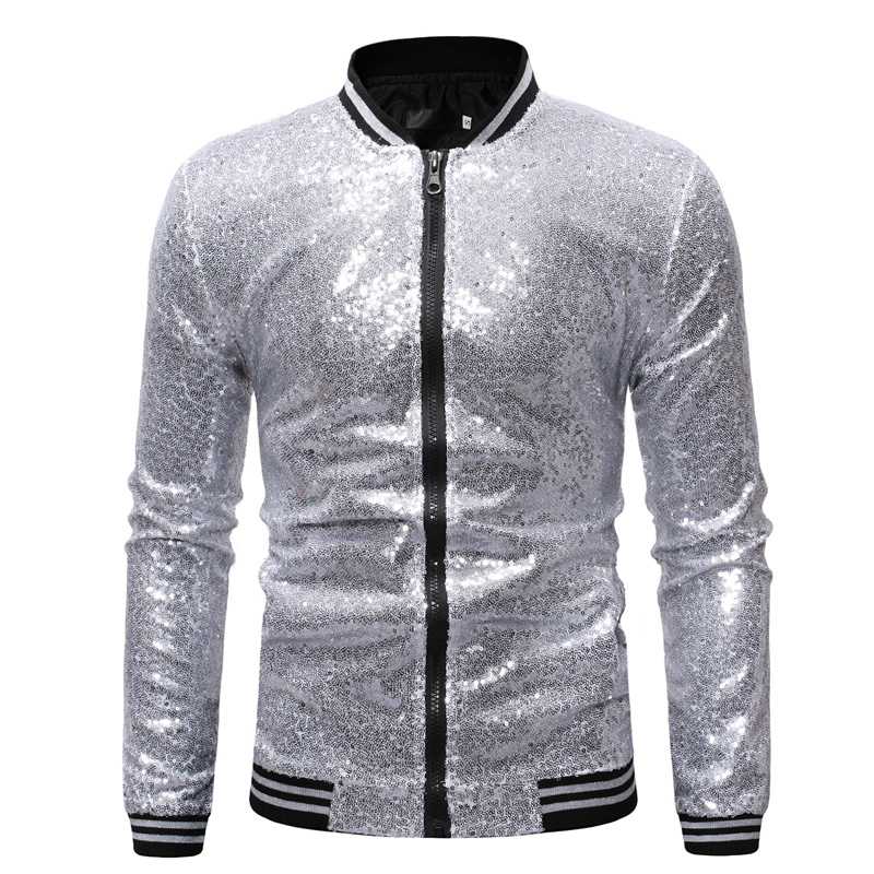 Image 2 - Shiny Sequins Sparkle Bomber Jacket Men 2019 Newest Gold Glitter Striped Zipper Mens Jackets And Coats Party Dance Show Clothes-in Jackets from Men's Clothing