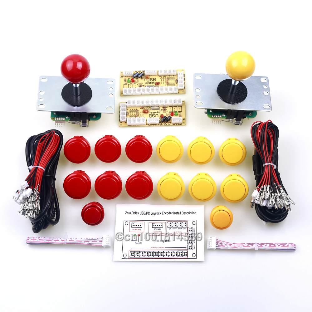 New Mini Arcade Machines DIY Kits Parts Zero Delay Encoder Circuit Board & 14pcs Arcade Buttons & Sanwa Joystick - Red + Yellow 1 pcs high quality heidelberg parts new board ltk50 91 144 8021 01a water reel drive circuit board ltk 50 91 144 8021