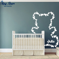 2015 New Fifty Three Teddy Bear Wall Decals Personalized Name Custom Paste Shape Wall Stickers For