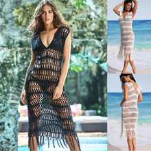 b12415c61f Cover Ups for Swimwear Women V-Neck Beach Dresses with Tassels Hollow Out  Swimwear Vintage Crochet Bikini Swimsuit Coverups