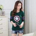 Футболка с длинным рукавом женщины 2016 новый хлопок футболки женщины футболка осень топы camiseta feminina poleras де mujer футболка femme