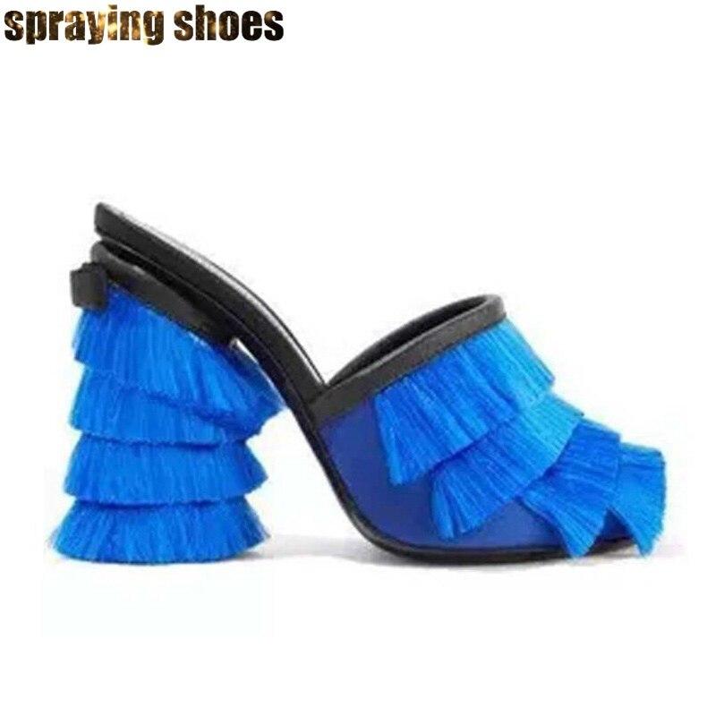 Na moda borla chunky salto alto sandálias femininas verão chinelos azul/rosa cetim praça bombas peep toe senhoras vestido de festa sapatos novo - 6