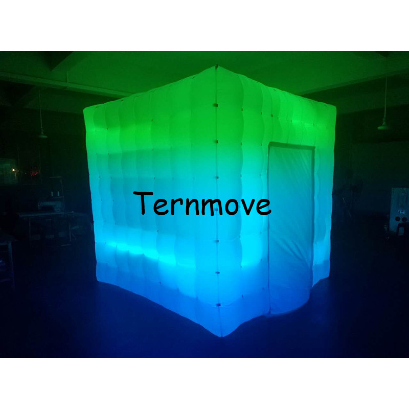 LED lighted inflatable portable photo booth kiosk enclosure with factory price Free Shipping inflatable cube tent photo booth