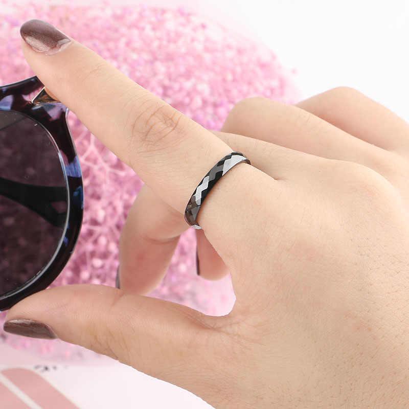 여성을위한 3 MM 라이트 블랙 화이트 세라믹 반지 남성 부드러운 컷 표면 세라믹 쥬얼리 남성 반지 패션 결혼 반지 도매