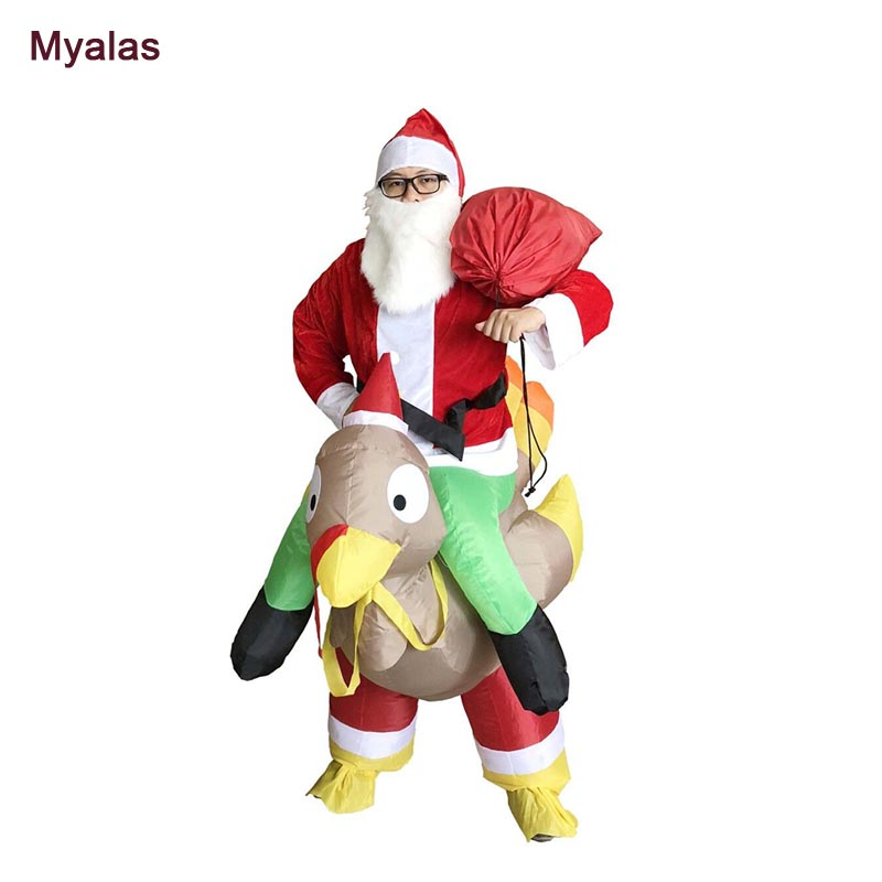 Santa Claus Ride On Turkey Inflatable Costume Christmas Costumes Inflatable Santa Father Jumpsuit Adult Blow Up Costume Dress