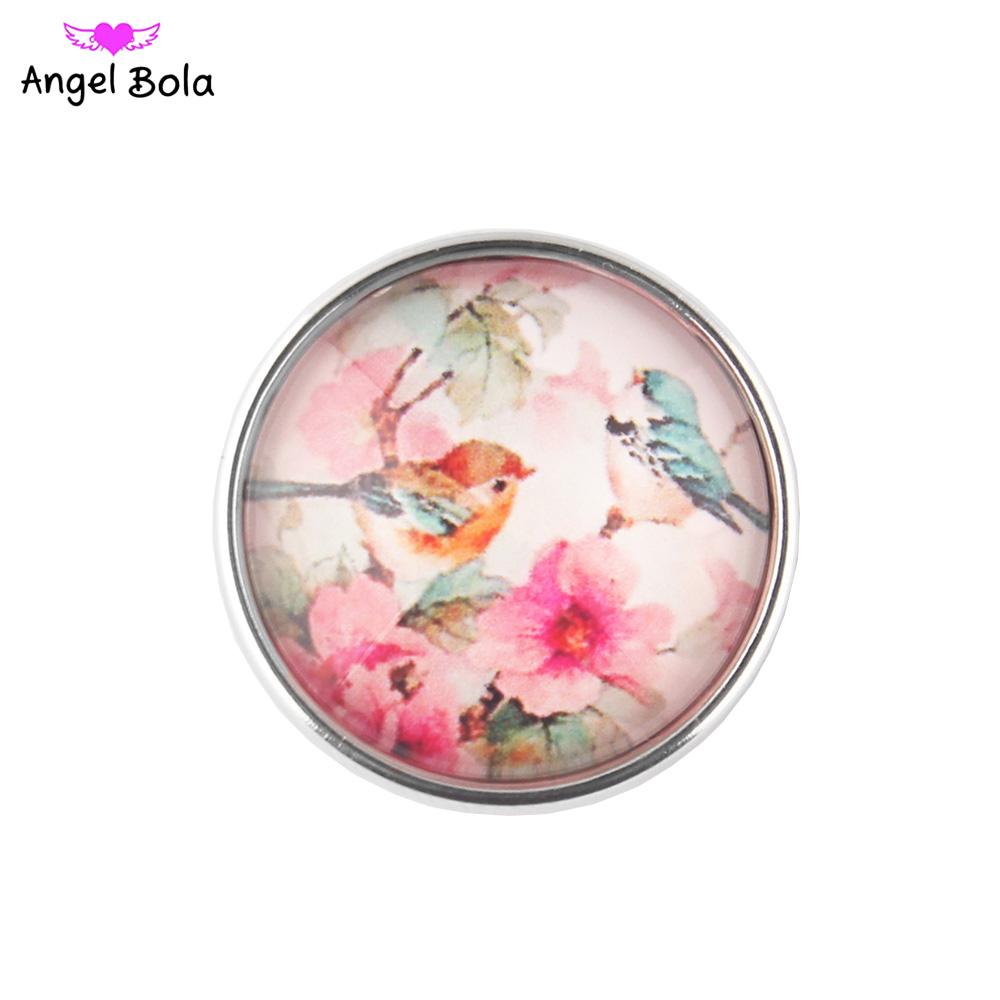 12PCS/LOT Pring with Blooms Snap Button 18MM Round Glass Ginger Snaps Jewelry Pink Snap Charm Fit Snap Bracelet NS002-58