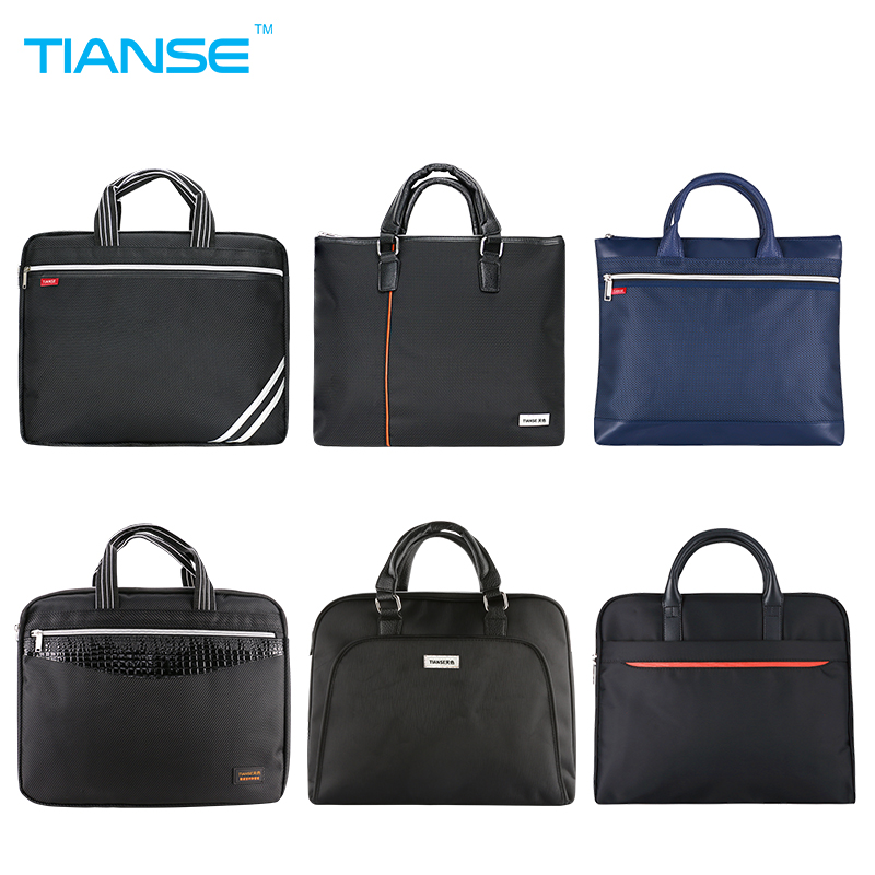 TIANSE Commercial Business Document Bag A4 Tote File Folder Filing Meeting Bags Side Zipper Pocket Portable Laptop Canvas Bags