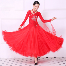 Ballroom Standard Dresses Red 2017 New High Quality Custom Made Long Sleeve Waltz Tango Ballroom Competition Dance Dress