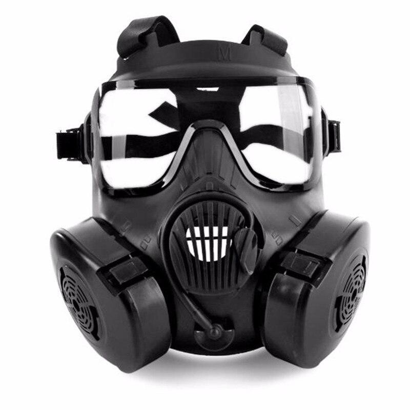 1 pièces cyclisme masque facial Vision large protecteur tactique Airsoft masque adultes visage complet CS accessoires avec ventilateur pour le Camping