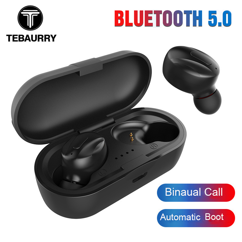 TEBAURRY Bluetooth Earphone 5.0 <font><b>TWS</b></font> Bluetooth Headset Mini Wireless Earbuds Stereo Earphone Automatic Boot with Charging box image