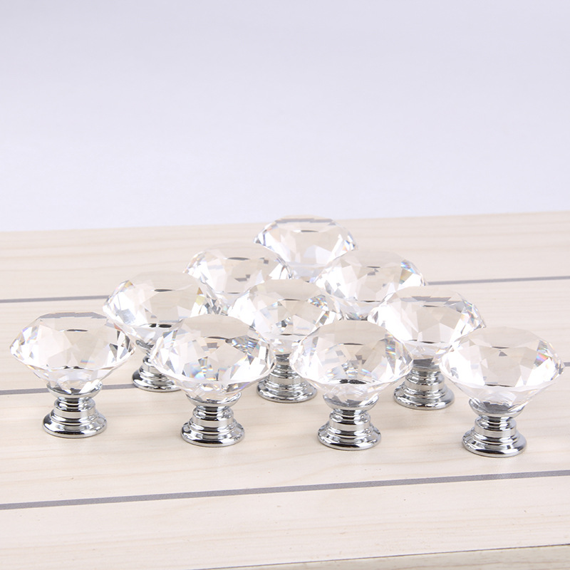 1lot/10pcs 30mm Diamond Crystal Glass Alloy Door Drawer Cabinet Wardrobe Pull Handle Drop Furniture Knobs And Pulls For Cabinets 10 pcs 30mm diamond shape crystal glass drawer cabinet knobs and pull handles kitchen door wardrobe hardware accessories