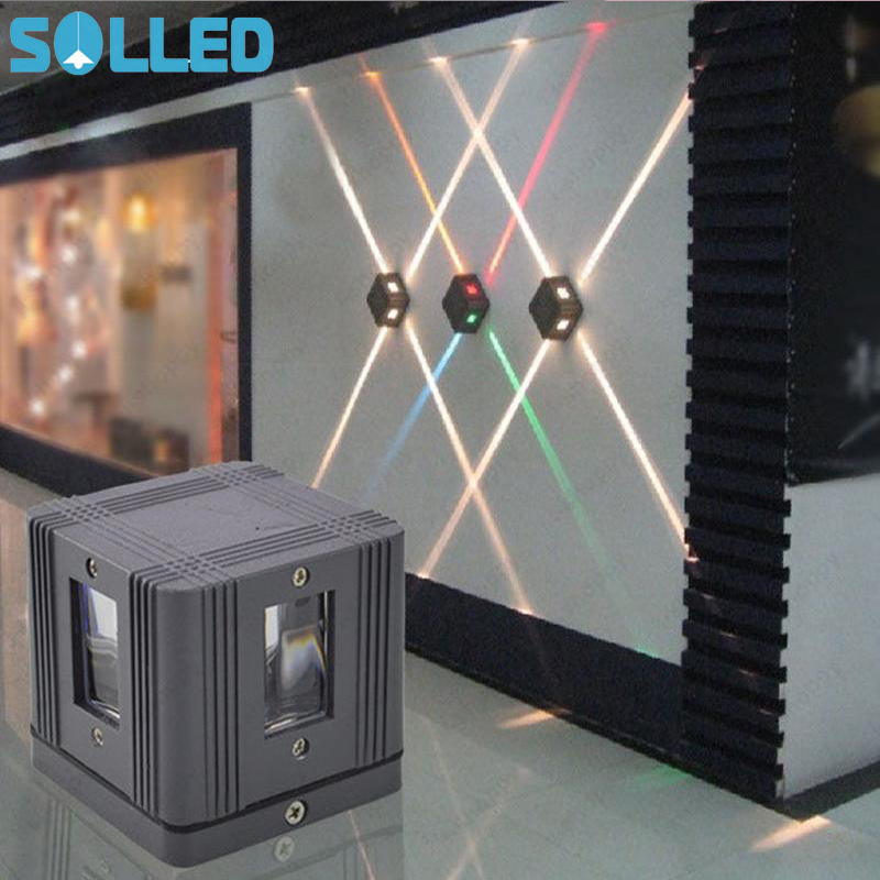 SOLLED 4W LED Wall Sconce Light Fixture Cross Starlight Lamp Outdoor Waterproof Building Exterior Decor Light