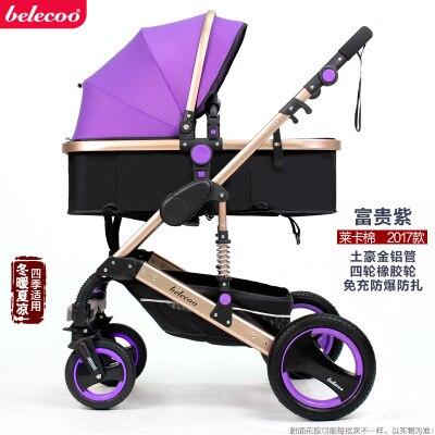 Belecoo Высокая Пейзаж Роскошная детская коляска 0-36 месяцев коляска надувной натуральный каучук колеса детская коляска - Цвет: purple