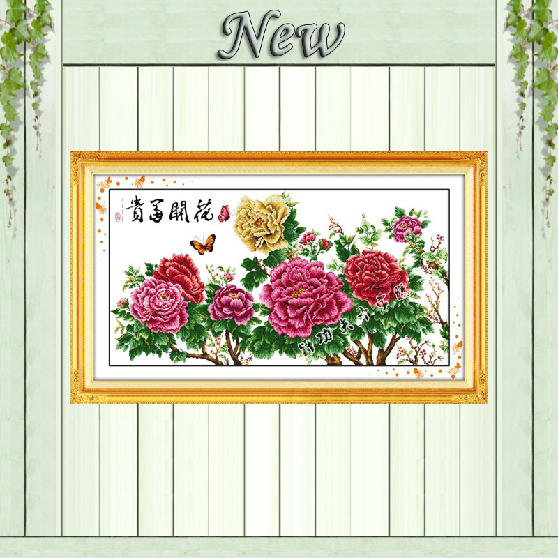 Blooming flower butterfly home decor painting counted print on canvas DMC 11CT 14CT Cross Stitch kits
