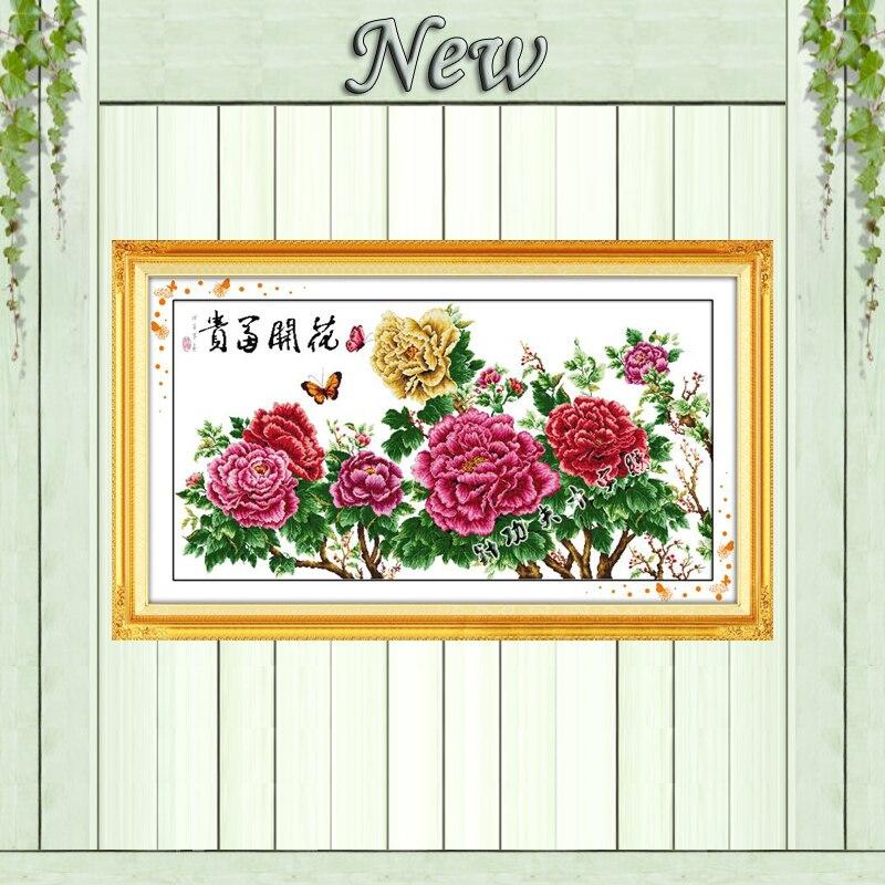 Fleurissement fleur papillon décor à la maison peinture compté impression sur toile DMC 11CT 14CT point de croix kits broderie couture ensembles