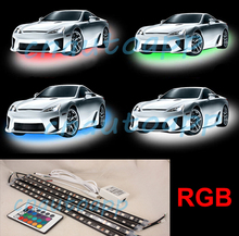 Car Chassis / LED Interior Light / Motorcycle Decoration Atmosphere Lamp Multi-Color RGB Remote Waterproof Strips – 4PCS(30MM)