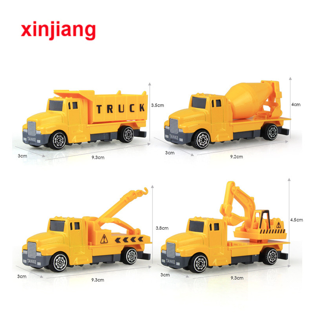 4 Types Mini Cast Car Alloy Engineering Toy Vehicles Excavator Cement Truck Model Cars