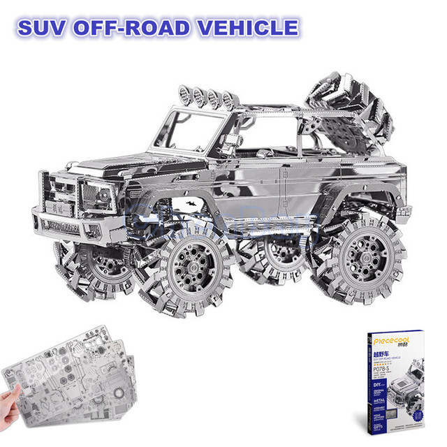Piececool 3D Metal Puzzle of SUV OFF-ROAD VEHICLE 3D Laser Cut Model 3D Jigsaws from 3d Laser Cut Metal Sheets for Kids DIY Toys