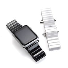 2017 High Quality Ceramic Watchband Link Bracelet Strap + Connector Adapter For Apple Watch Iwatch 38mm42mm Men and women strap